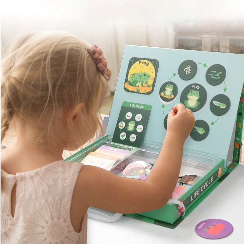 Children Magnetic Jigsaw Puzzle Educational Jigsaw Puzzle Toy Baby Children Early Childhood Cognitive 3-4-5-Year-Old Life Cycle