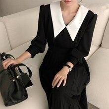 Elegante plissado feminino primavera a linha manga longa midi escritório retalhos vestido outono