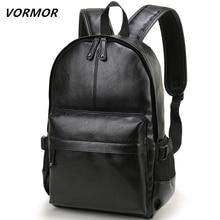 VORMOR العلامة التجارية الرجال على ظهره حقيبة ظهر مدرسية من الجلد حقيبة الموضة مقاوم للماء حقيبة السفر حقيبة كتب جلدية عادية الذكور