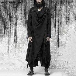 Fashion Men Trench Hooded Solid Long Sleeve Punk Streetwear Button Irregular Coats Chic Casual Mens Cloak Jackets INCERUN S-5XL