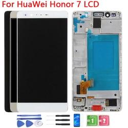 Tela de toque para huawei honor 7, digitalizador touchscreen, com moldura, 5.2 polegadas, PLK-TL01, PLK-L01, PLK-UL00, PLK-AL10