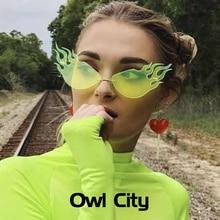 Новые солнечные очки с огненным пламенем для женщин и мужчин, без оправы, солнцезащитные очки «кошачий глаз», роскошные брендовые дизайнерские очки, большие полые оттенки, уличная одежда