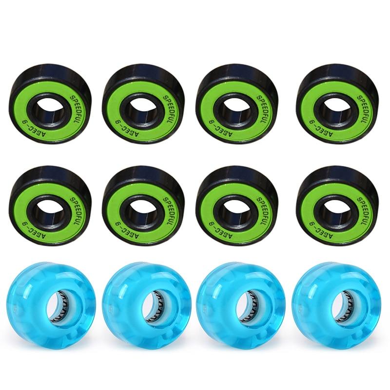 LED Skateboard Wheels 90A Blue Glow  Longboard LIGHTS +ABEC 9 BEARINGS