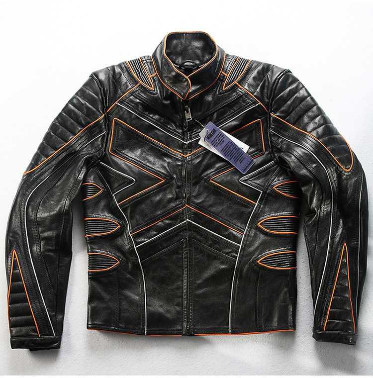 Factory 2019 New X-Men Reflective Motorcycle Leather Jacket Fahion Splice Head layer cowhide Stand collar Slim Biker Jackets