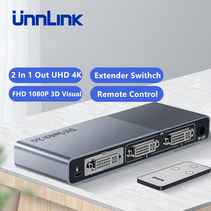 Unnlink DVI Switch 2X1 2 In 1 Out UHD 4K 3D Visual FHD Driver Free IR Remote Control Switcher For Projector Monitor Computer