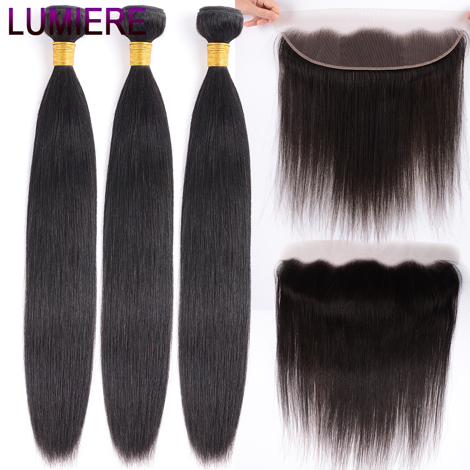 Lumiere Hair Brazilian Straight 3 Bundles With Frontal Human Hair Weave Bundle 13x4 Lace Frontal With Bundles Free Part Non Remy-in 3/4 Bundles with Closure from Hair Extensions & Wigs    1