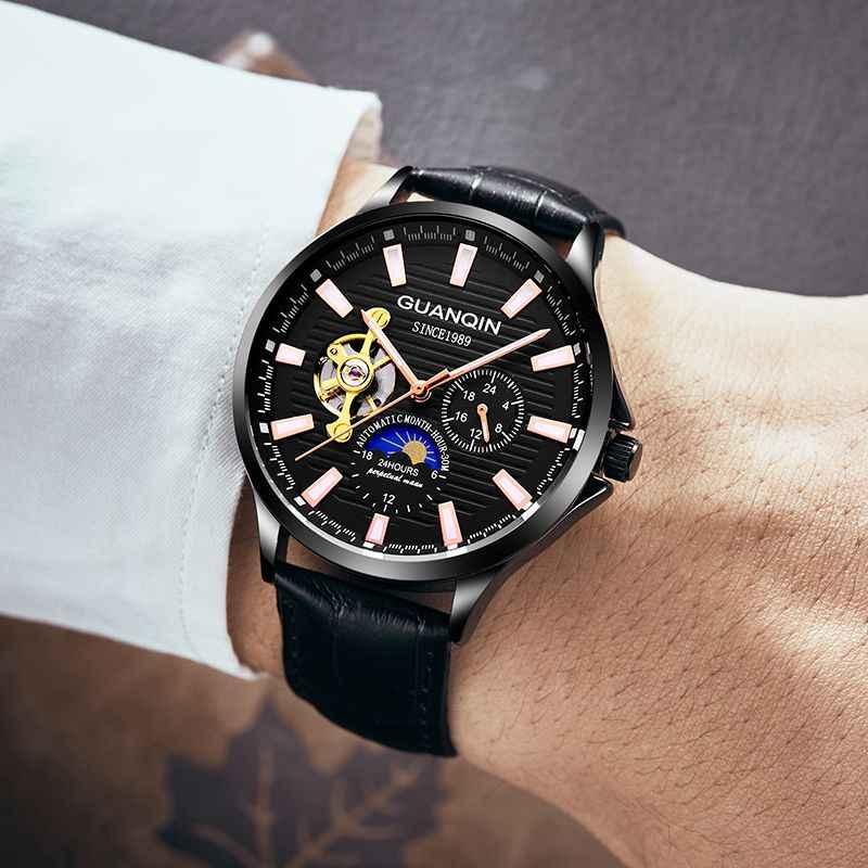 Relogio Masculino Guanqin Orologio Automatico di Scheletro Meccanico Orologio da Uomo Orologi da Polso Impermeabile 2020 Horloges Mannen