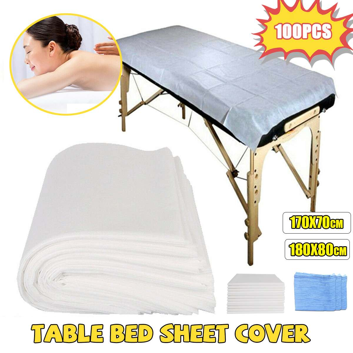 100PCS Disposable Non-woven Bed Pads Cover Sheets Massage Beauty Home Care Non-woven Fabric 80x180cm