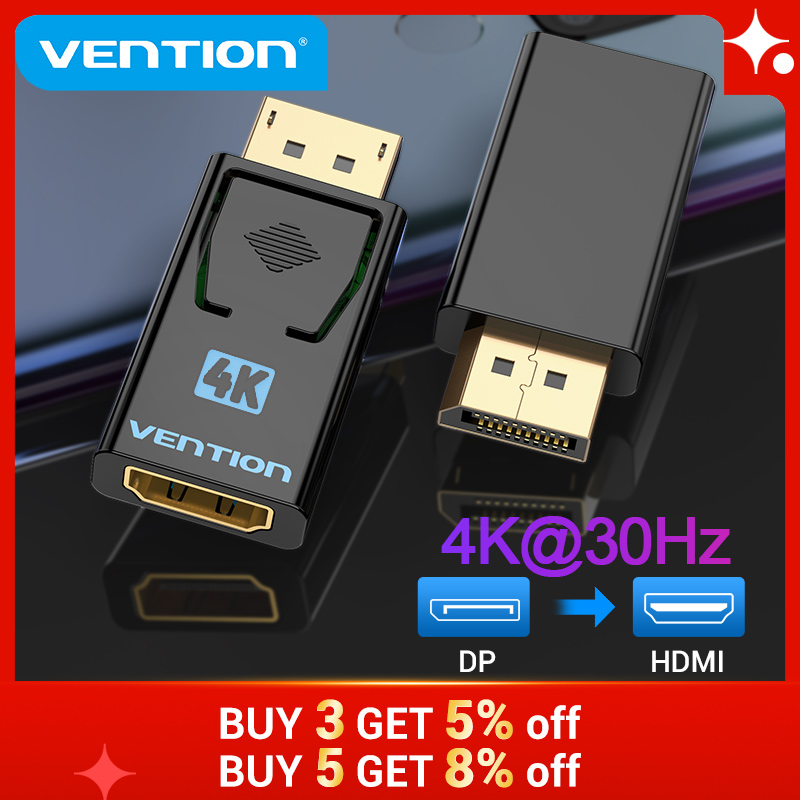 Vention Display Port to HDMI Adapter 4K Male DP to HDMI Female Video Audio Converter для ПК ноутбука проектор Display Port to HDMI