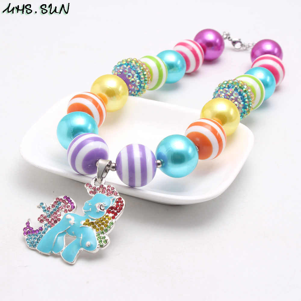 Colorful Rhinestone Rainbow Pendant on Chunky Bubble Gum Bead Necklace for Girls