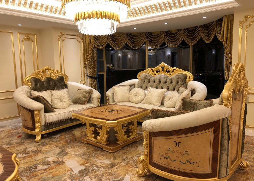 Glorious Palace Style Sofa Set with Velvet Fabric Upholstery / Sumptuous 1+2+3 Seaters, Square Table / Sea Ship >8 weeks 5