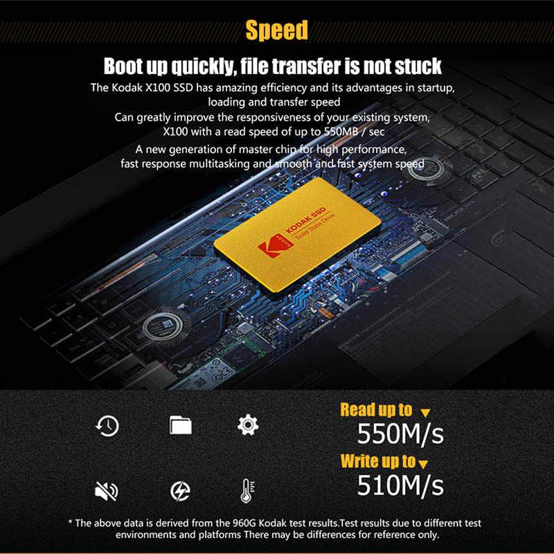 Kodak Digital X100 SSD 120GB 240GB 480GB SATA 3 2.5 بوصة محرك أقراص الحالة الصلبة الداخلية محرك أقراص صلبة HDD HD SSD 960gb الكمبيوتر المحمول