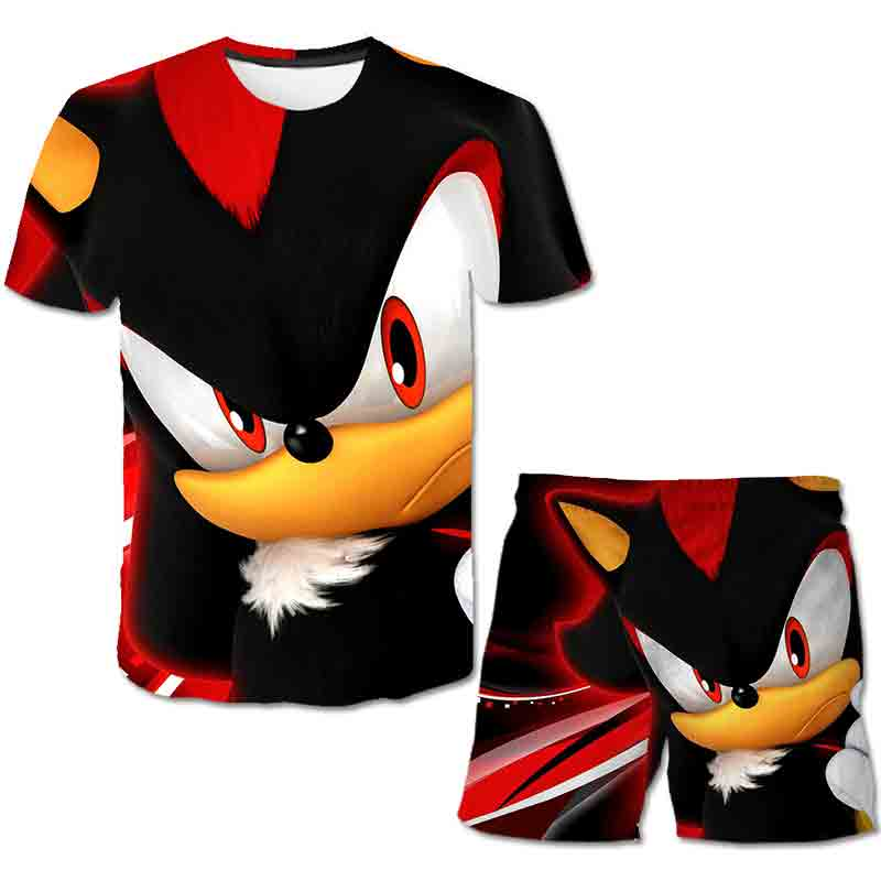 Summer Sonic the Hedgehog T-Shirt 3D Baby Boy Clothing Set Cute Cartoon Children Boys Clothes tops Shorts Suit for Kids Outfit 3