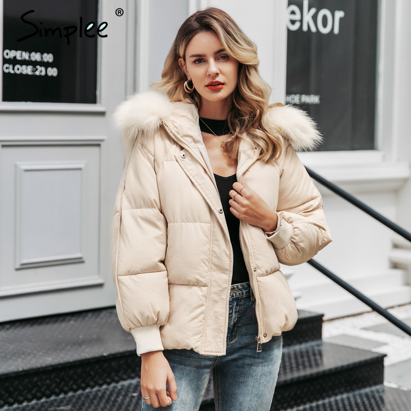 Simplee Plus size winter thick women hooded   parkas   Long sleeve fur collar female outwear oversized coat Casual ladies   parkas