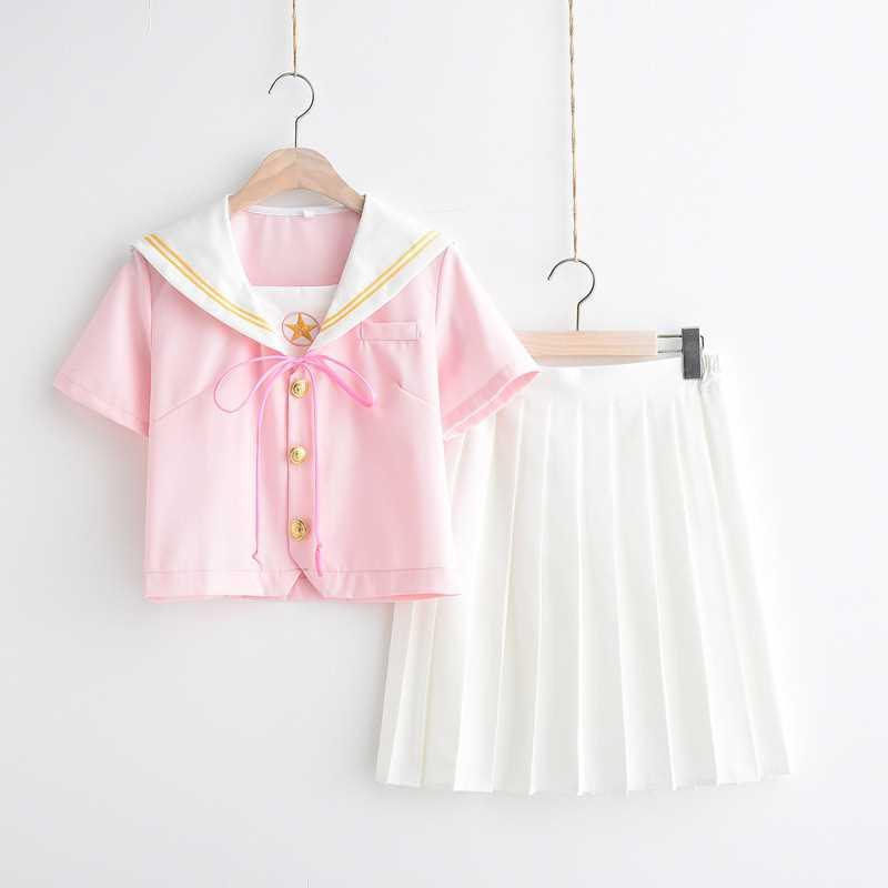 Women Embroidery Dress Set JK High School Uniforms Students Girls Sailor Suits Harajuku Preppy Style Top Short Pleated Skirt