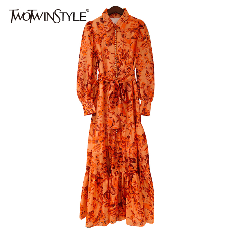 TWOTWINSTYLE Vintag Print Women Dress V Neck Lantern Long Sleeve High Waist Lace Up Patchwork Peals Maxi Dresses For Female Tide