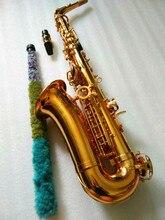 Saxofón Alto de alta calidad saxofón Alto Eb instrumento Musical profesional Latón chapado en oro saxo botones de perlas con