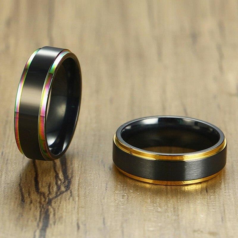 Черное кольцо с хвостом Vnox 6 мм для мужчин и женщин Stainelss, стальная цветная линия, уникальный ремешок, матовая поверхность, повседневные мужс...