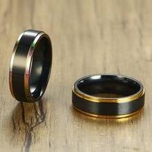 Vnox-anillo de acero inoxidable con extremo negro para hombre y mujer, sortija única, superficie mate, informal, 6mm