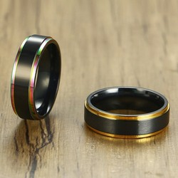 Vnox 6mm Black Tail Ring for Men Women Stainelss Steel Color Line Edge Unique Band Matte Surface Casual Male Alliance Jewelry