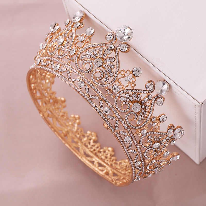 Oro di Colore Grande Rotonda Corone Barocco Tiara Corona di Cristallo Del Cuore di Cerimonia Nuziale Accessori Per Capelli Queen Principessa Diadema Da Sposa Ornamenti
