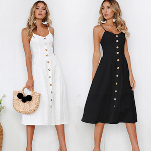 Fashion Sexy Women Sleeveless Backelss Summer Dress 2019 Black White Casual Dress Spaghetti Strap Dresses Button midi Sundress(China)