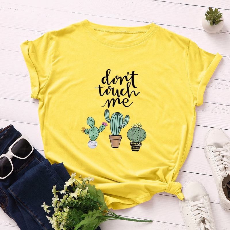 JCGO Summer Cotton Women T Shirt 5XL Plus Size Cactus Don't Touch Me Short Sleeve Woman Tees Top Casual O-Neck Female tShirts 4