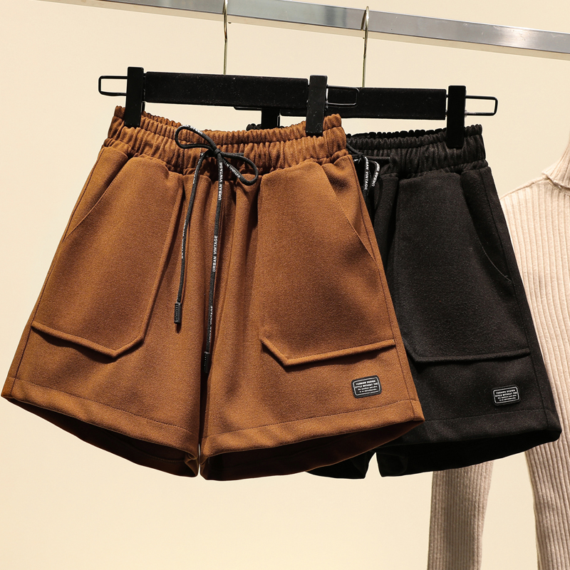 Woolen Shorts Women Autumn Winter Plus Size High Waist  Loose Casual Boots  Female Wide Leg Short 5XL 6XL