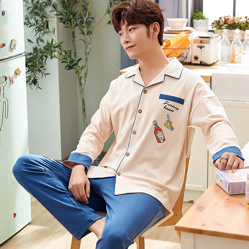 New 2019 Men Long Sleeve Spring Autumn Winter Male Cotton Pajama Pure For Set Couple Sleepwear Suit