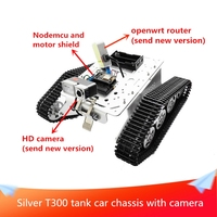 Silver T300 Tank Car Chassis WiFi Video Robot Tracked Tank Car Remote Control Kit Camera,Nodemcu and Motor Shield DIY RC Toy
