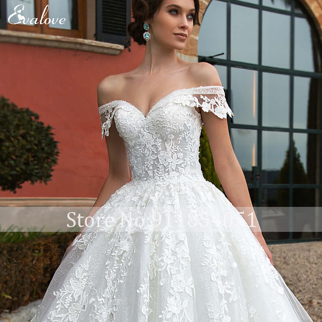 EVALOVE Gorgeous Appliques Royal Train A-Line Wedding Dress Sweetheart Neck Lace Up Beading Sparkly Tulle Princess Bridal Gown 6