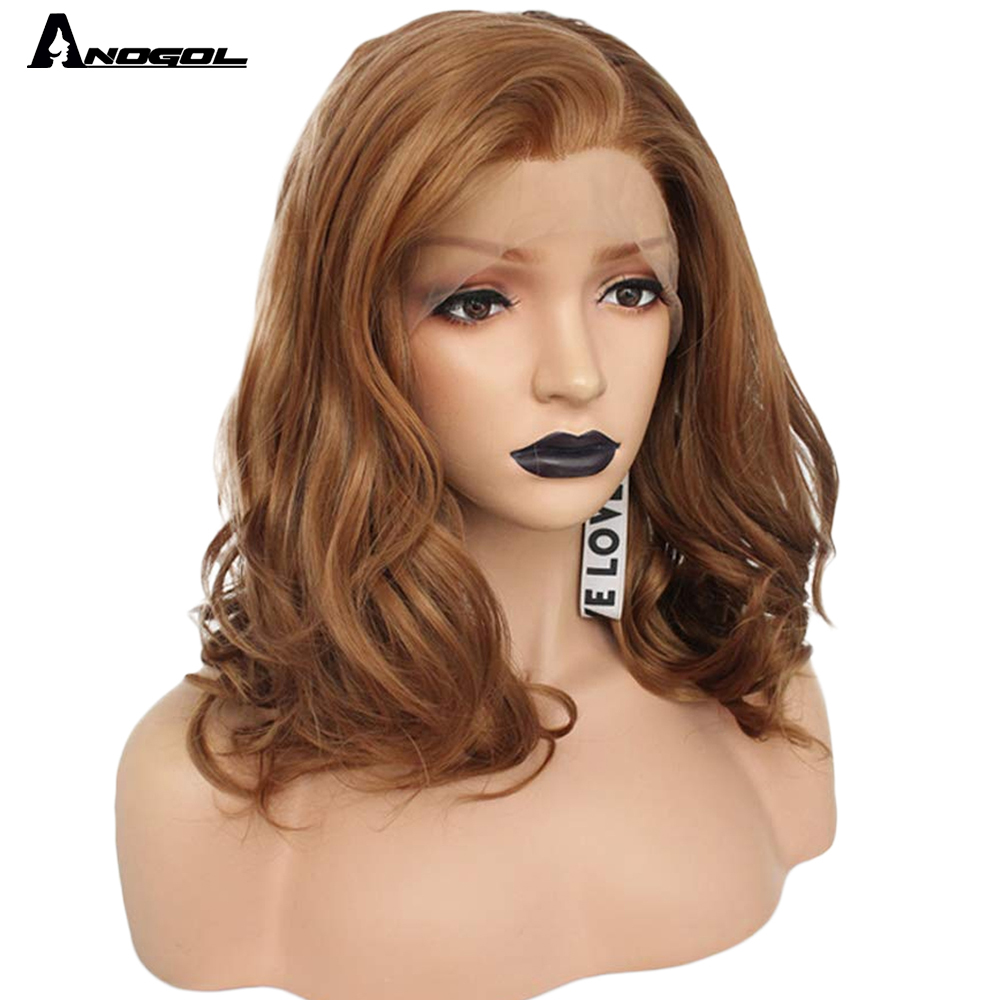 "Image 2 - Anogol Brown 12"" Glueless High Temperature Fiber Synthetic Lace Front Wig Natural Short Body Wave Bob Hair Wigs For White WomenSynthetic None-Lace  Wigs   -"