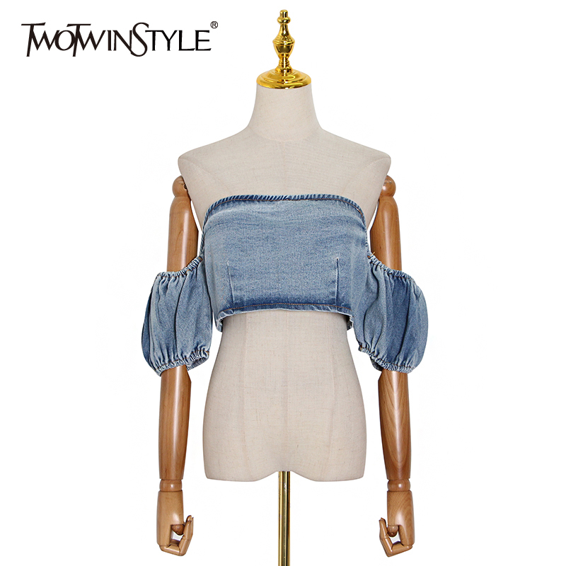 TWOTWINSTYLE Sexy Denim Women Shirts Slash Neck Puff Short Sleeveless Short Ruched Blouses For Female Fashion Clothes 2020 Tide