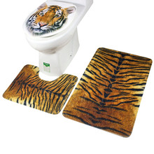 3Pcs/set Leopard and Tiger Pattern Bath Mat Toilet Rug Bathroom Soft Absorbent Mats 2019 3pcs beach love coral fleece bathroom mat set