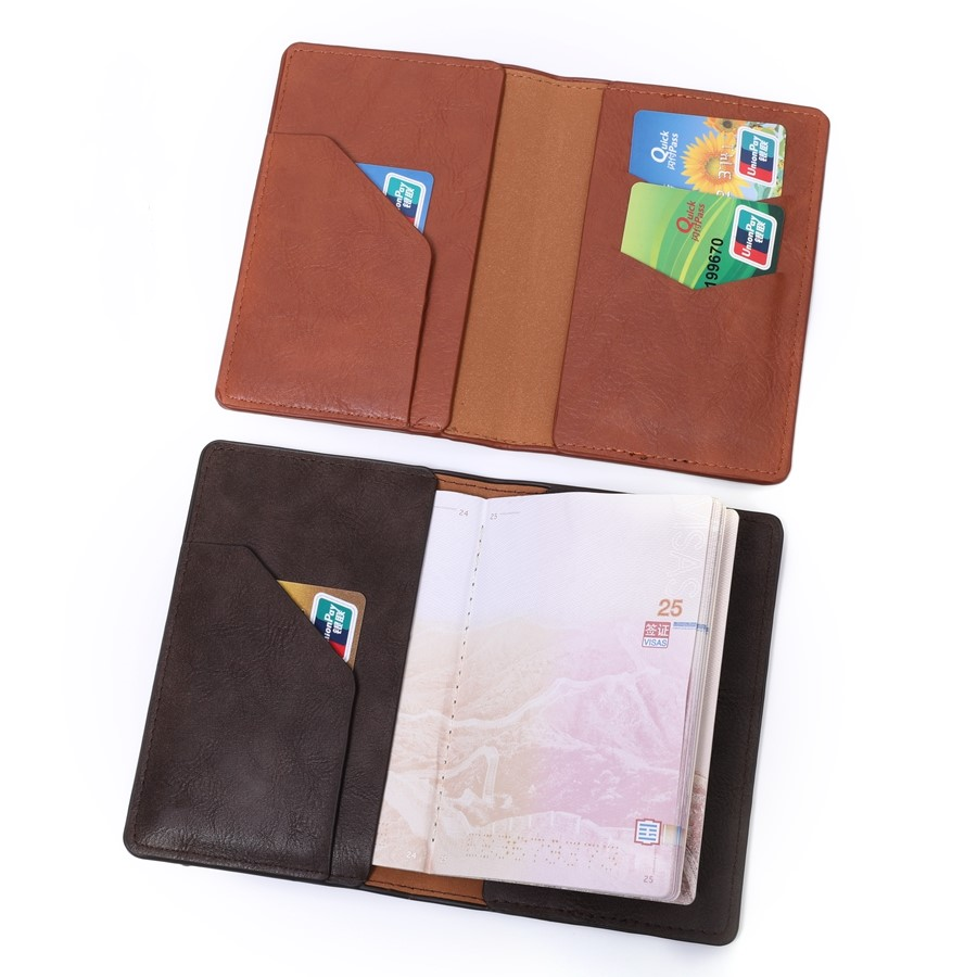 Leather-look travel inspiration passport cover and wallet