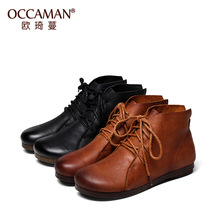 OCCAMAN Vintage Style Lace Up Closure Shoes Female Classical Geniune Leather Motorcycle Boots 05107