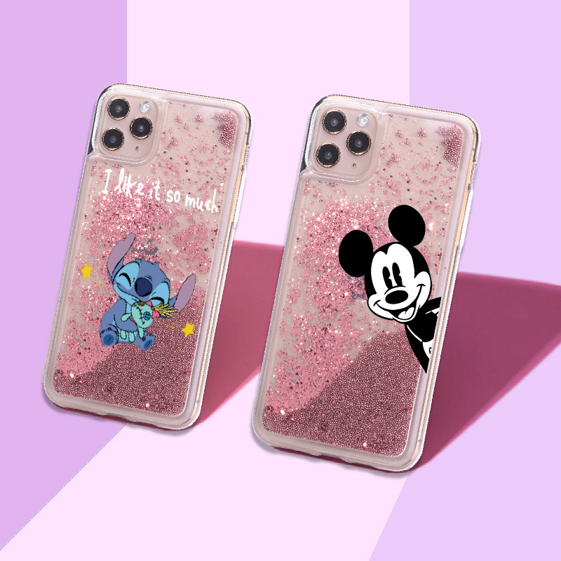 <font><b>Cartoon</b></font> Stitch Cute Animals Sparkle Liquid Real Glitter Phone Case <font><b>Fundas</b></font> Cover for <font><b>iPhone</b></font> 11 X XS XR Max Pro 7 8 7Plus 8Plus 6 image