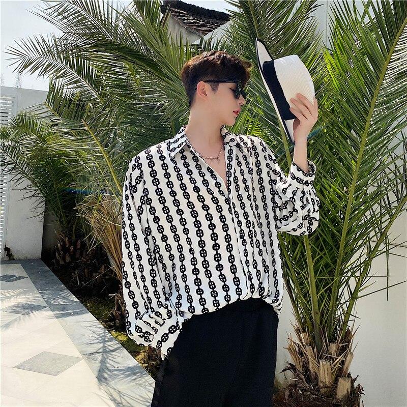 Men Retro Fashion Print Casual Long Sleeve Shirts Male Streetstyle Loose Shirt Beach Shirt