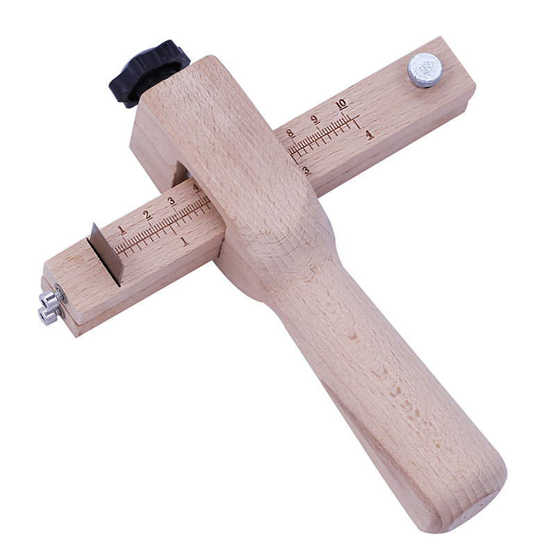 Adjustable Leather Strap Cutter Leathercraft Strip Belt DIY Hand Cutting Wooden Strip Cutter With 5 Sharp Blades Leather Tools