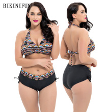 New Sexy Plus Size Bikini Women Swimsuit Plaid Print Bathing Suit High Waist Swimwear 4XL-8XL Girl Backless Halter Set