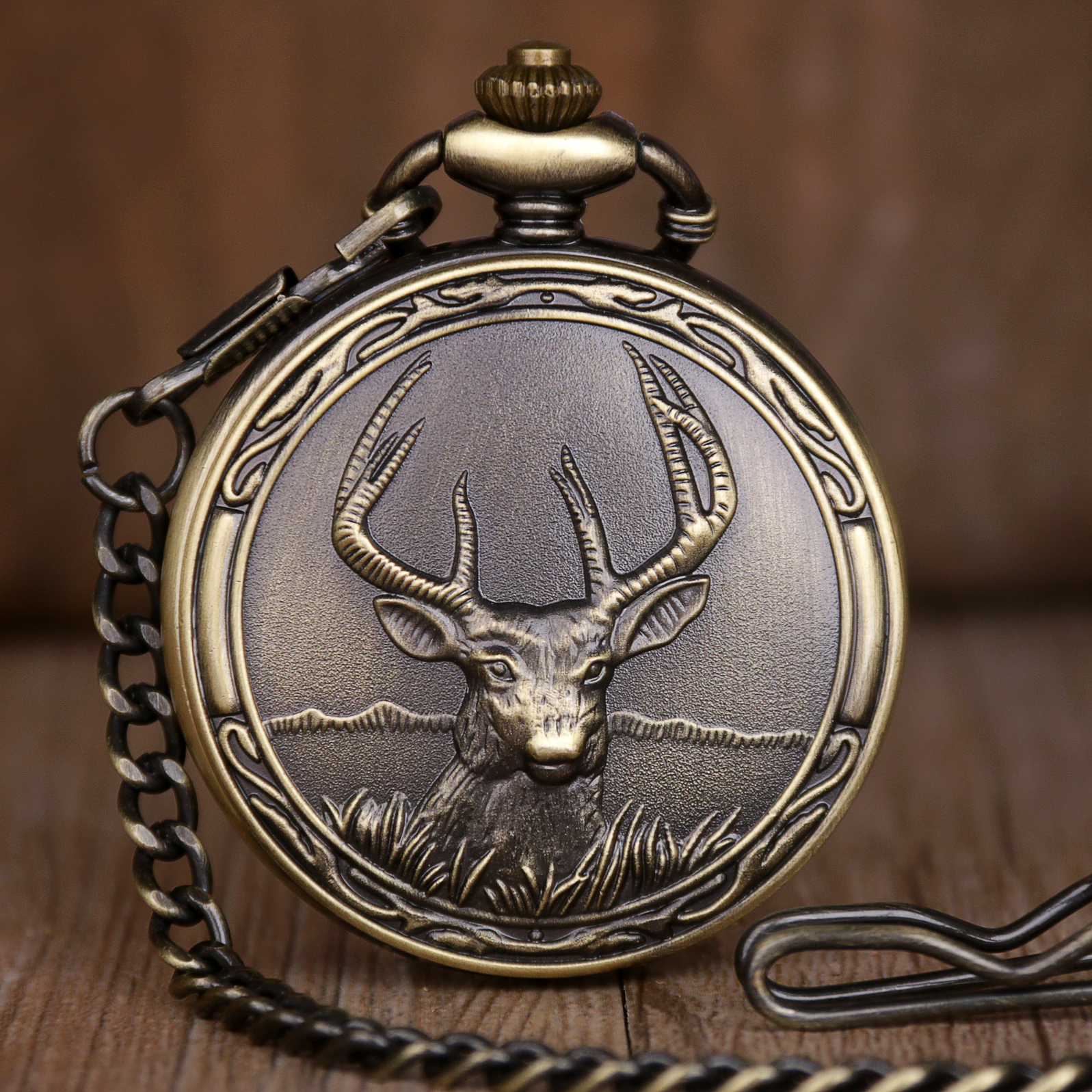 New Arrival Deer Quartz Pocket Watches Analog Pendant Pocket Watches With Necklace Chain Watches Gifts For Men Women