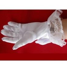 Модные кружевные перчатки с жемчугом для девочек; Детские вечерние белые кружевные атласные Короткие перчатки