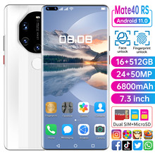 Mate40 RS 7.3Inch Android Cellphone Global Version 10Core 6800mAh Full Screen 16+512GB Support Face\Fingerprint ID Smartphone 5G