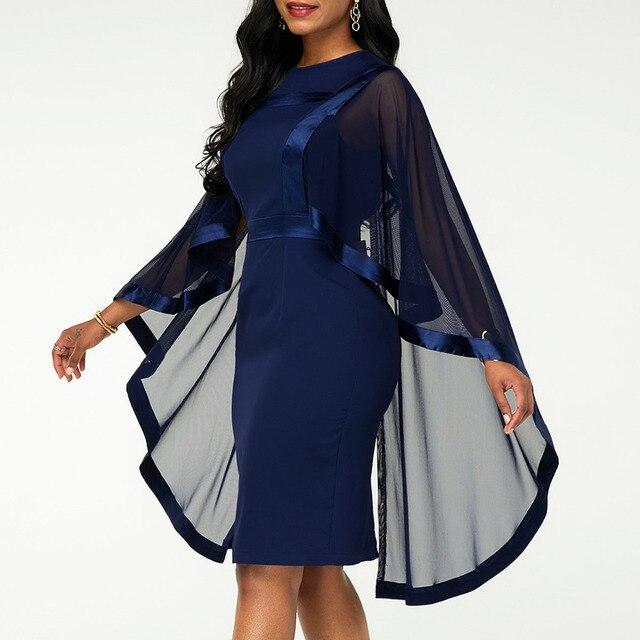 Summer Autumn Dress Women 2019 Casual Plus Size Slim Patchwork Mesh Office Bodycon Dresses Vintage Elegant Sexy Party Dresses 4