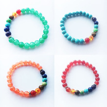 New 8MM Natural volcanic rock Crystal Tiger Stone Orchid Pine 7 Color Beads Hand String Chakra Bracelet Men Women Jewelry