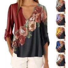 Flower Print Patchwork Elegant Half Sleeve Woman Blouse Shir
