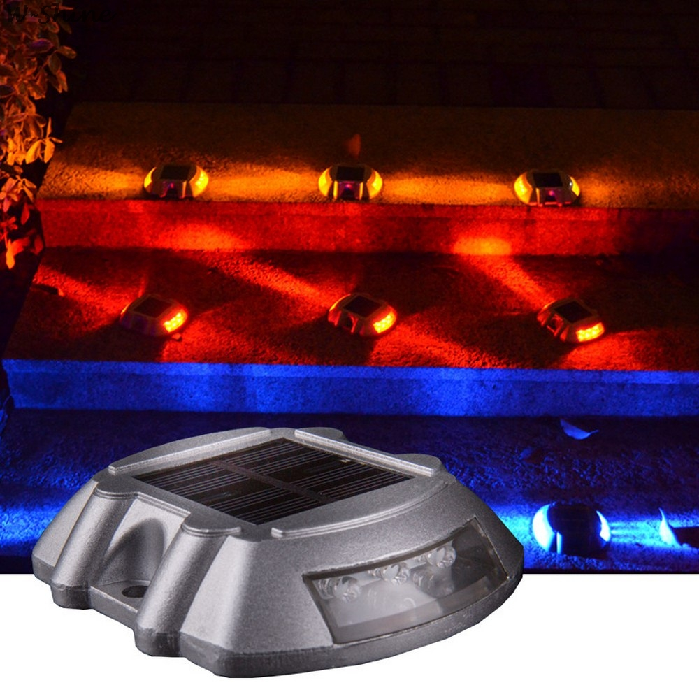 6 LED Solar Road Stud Lighting Aluminum Outdoor Waterproof Road Driveway Dock Path Ground Light Driveway Marker Lamp