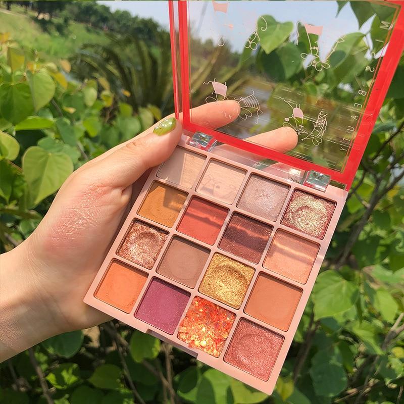 16 cores purê de batata sequin eyeshadow venda quente pearlescent à prova dpearágua sombra paleta beleza olho cosméticos