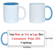 2 Styles Coffee Mug Custom / DIY Picture /text/ Logo Mugs Round Handle Blue Cup 11oz Ceramic Cups