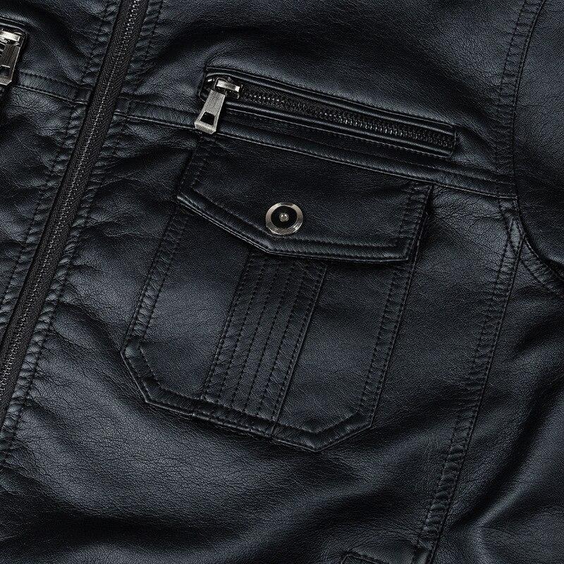 Jaqueta masculina de couro punk, estilo multi-design,